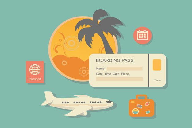 style modern vector illustration concept of planning a summer vacation, online booking a ticket on a trip, flying a plane to travel destination. Isolated on stylish background. Flat